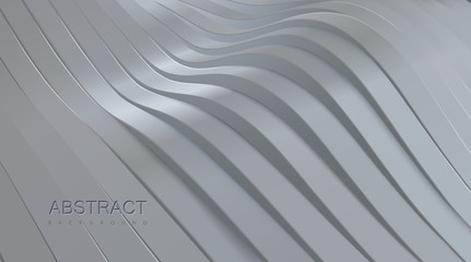 White wavy stripes background. Abstract papercut decoration. 3d topography relief. Vector realistic illustration. Modern cover layout template. Architectural concept Wall mural