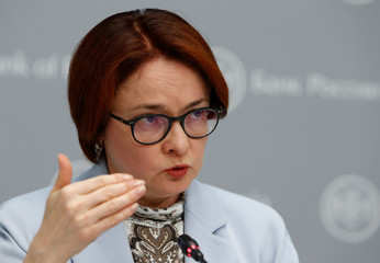 Russian central bank governor Elvira Nabiullina talks during a news conference in Moscow