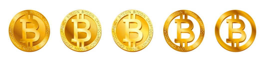 Vector cryptocurrency Bitcoin sign (Bitcoin icon) isolated on white background. Golden B coin symbol design, Digital virtual crypto currency banking concept illustration