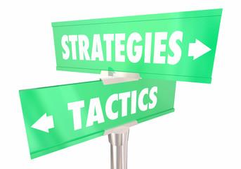 Strategies Vs Tactics Tasks Work 2 Two Way Road Signs 3d Illustration
