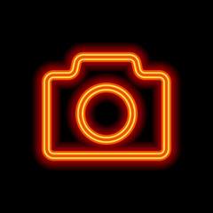 Photo camera, linear symbol with thin outline, simple icon. Oran