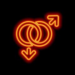 gender symbol. linear symbol. simple gay icon. Orange neon style