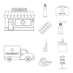 Vector design of pharmacy and hospital icon. Set of pharmacy and business stock symbol for web.