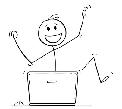 Cartoon stick drawing conceptual illustration of happy dancing man or businessman celebrating success behind laptop computer.