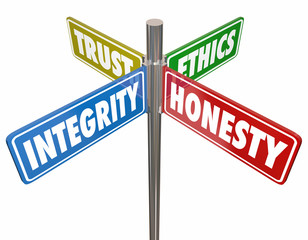 Integrity Honesty Trust Ethics Signs 3d Illustration