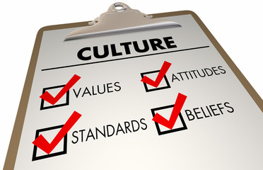 Culture Beliefs Values Languages Checklist Clipboard 3d Illustration