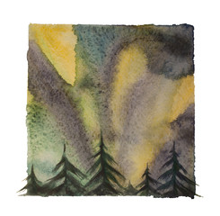 Watercolor northern lights, isolated north sky at night illustration