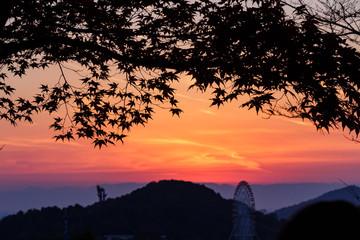犬山の秋の夕景