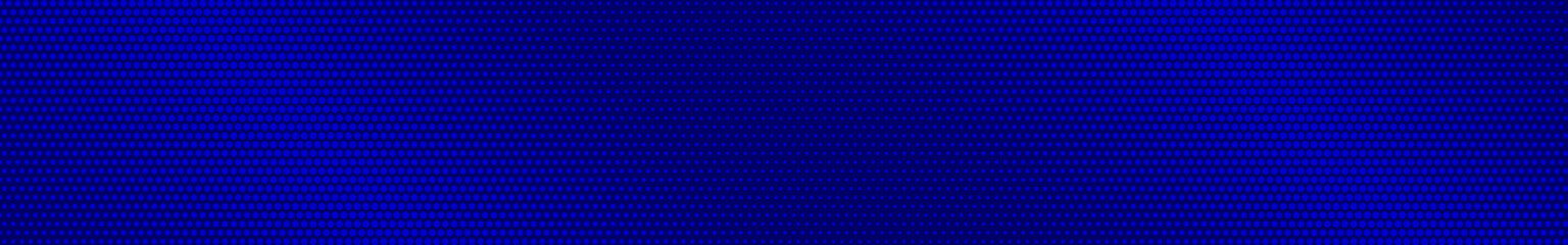 Abstract halftone gradient horizontal banner in blue colors