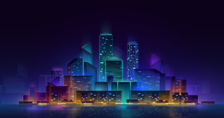 Night cityscape with neon lights. Vector architectural illustration. Nightlife concept. City skyline reflected in water.