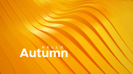 Hello autumn. Abstract wavy ribbons background. Vector 3d illustration. Sliced glossy surface. Topography relief decoration. Vector seasonal illustration. Cover layout or business brochure template.