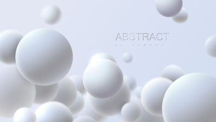 Fototapeta Falling white soft spheres. Vector realistic illustration. Abstract background with 3d geometric shapes. Modern cover design. Ads banner template. Dynamic wallpaper with balls or particles. obraz