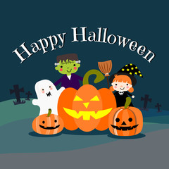 Kids Halloween Costumes, witch, zombie and ghost. Happy Halloween background.