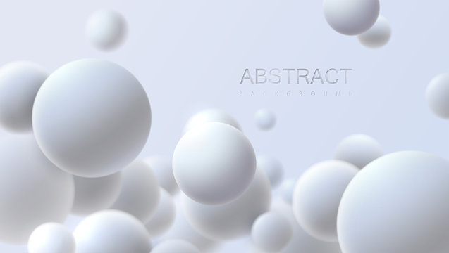 Falling white soft spheres. Vector realistic illustration. Abstract background with 3d geometric shapes. Modern cover design. Ads banner template. Dynamic wallpaper with balls or particles.