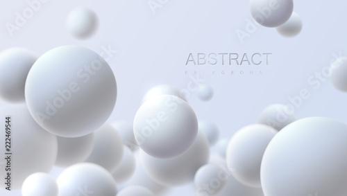 Falling white soft spheres  Vector realistic illustration