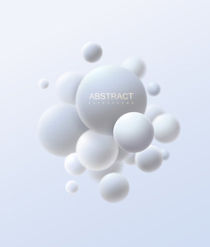 3d flowing spheres. Vector abstract illustration of white bubbles or particles cluster. Modern trendy concept. Dynamic decoration element. Futuristic poster or cover design