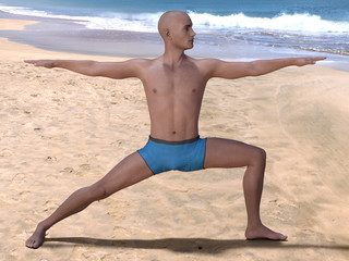 Bald man in the yoga warrior pose on a beach, bent knee and head turned left. 3d render.