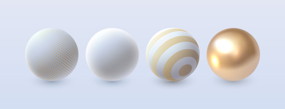 Abstract 3d spheres set. Vector illustration. Decoration elements for design. White and golden shapes textured with geometric patterns.