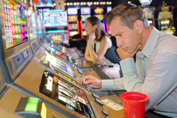 playing on the slot machines