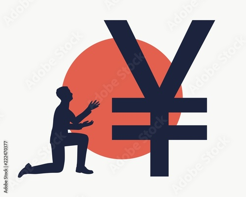 Silhouette Of Man In Prayer Pose Man And Symbol Of Yen Currency