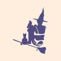 Illustration of sitting young witch wearing lingerie. Witch silhouette with a broomstick, cat and raven. Halloween relative image