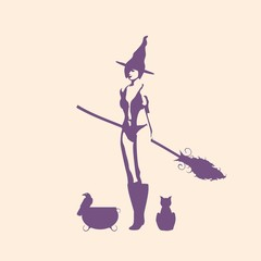 Illustration of standing young witch icon. Witch silhouette with a broomstick, cat and raven. Halloween relative image