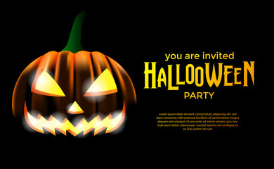 Halloween party with pumpkin jack lantern. Trick or Treat invitation. poster banner template.