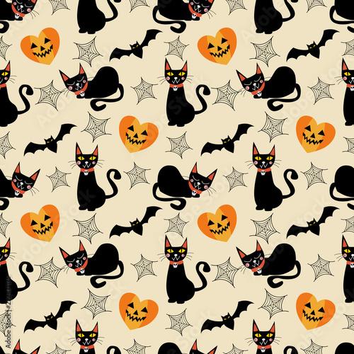 Black Cat And Halloween Symbols Seamless Pattern Halloween Concept