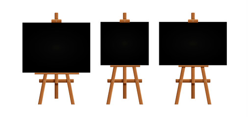 Set blank art board and realistic wooden easel. Wooden Brown  Easel with Mock Up Empty Blank Square Canvas Isolated on white background. Vector illustration..