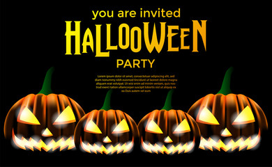 Halloween party with jack lantern. Trick or Treat invitation. poster banner template.