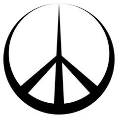 Peace symbol Pacific conciliatory sign, vector symbol disarmament and anti war movement