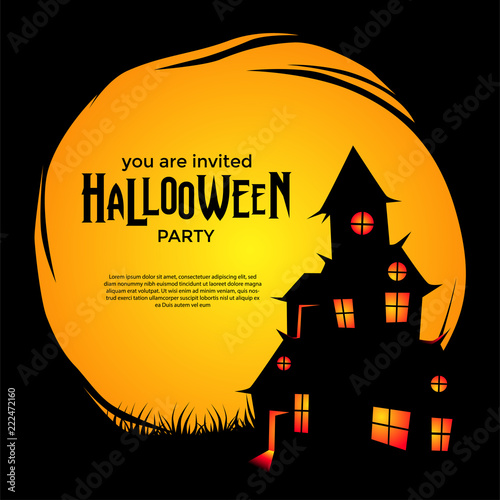 Halloween Trick Or Treat Silhouette.Halloween Party With Silhouette House Scary Trick Or Treat