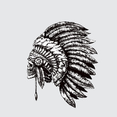 Indian chief. Skull with feathers. Vector illustration, eps 10.