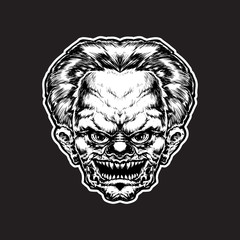 Hand drawn illustration of evil Clown. Vector illustration, eps 10.