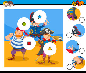 match pieces puzzle game with pirates