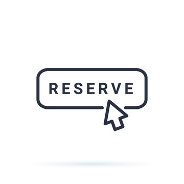 Thin line reserve button with black mouth hand. Flat outline trend modern logotype design isolated on white background.