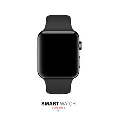 smart watch black color on white background. stock vector illustration eps10