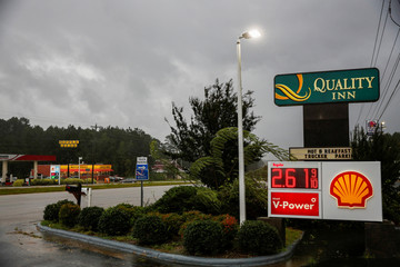 A gas station remains open as winds from Hurricane Florence hit the town of Wilson, North Carolina
