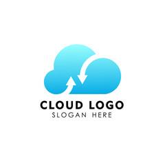 cloud tech logo design. sync cloud logo design vector icon