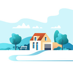 Suburban traditional house. Family home. Vector illustration.