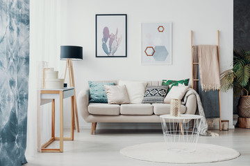 Posters above sofa with pillows in bright living room interior with drapes and round rug. Real photo