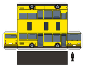 The simple paper model of a yellow bus