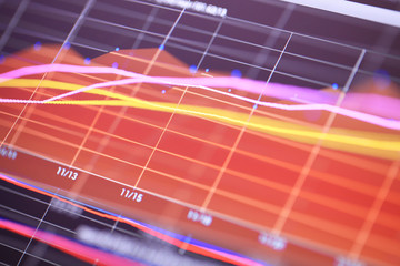 Double exposure image of charts on technology financial graph background.