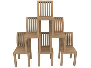 Pyramid of wooden chairs