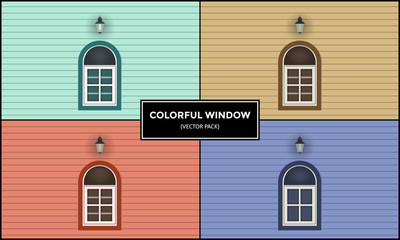 Drawing illustration of windows in different colors