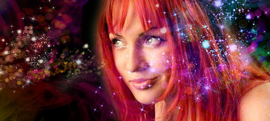 magic woman on fantasy abstract background