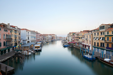 Grand Canal in Venice, clear sky in summer in the early morning in Italy