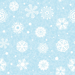 Bright Blue Snowflakes Background