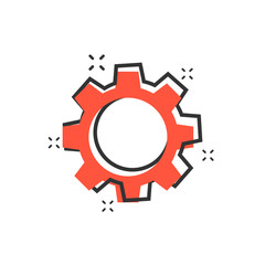 Vector cartoon gear icon in comic style. Cog wheel concept illustration pictogram. Gearwheel cogwheel business splash effect concept.