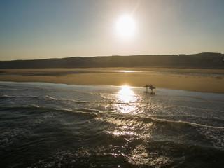 cap ferret sunrise dunes endless sand france aerial drone view beach walk surfer walking beach